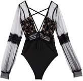 Goodnight Macaroon 'Hannah' Lace Deep V-neck Bodysuit