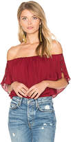 Haute Hippie Ruffle Tie Top in Red
