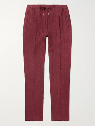 Lardini Miami Slim-Fit Pleated Melange Linen Drawstring Trousers - Men - Burgundy