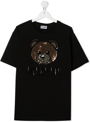 MOSCHINO BAMBINO TEEN sequin bear T-shirt