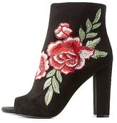 Charlotte Russe Floral Embroidered Peep Toe Ankle Booties