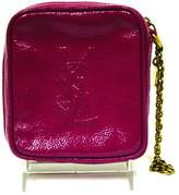 Saint Laurent Black Belle De Jour Leather Clutch /Burgundy