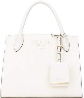 Prada Logo Embossed Tote Bag