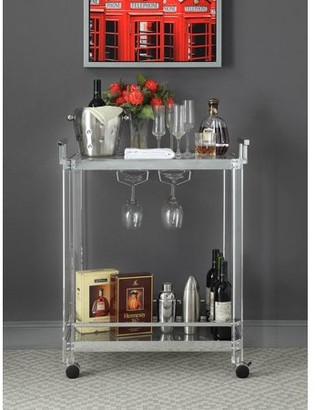ACME Furniture Acme Araldo Serving Cart in Clear Acrylic, Chrome & Clear Glass