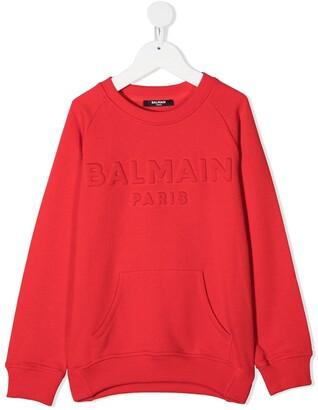 Balmain Kids Embossed Logo Crew Neck Sweatshirt