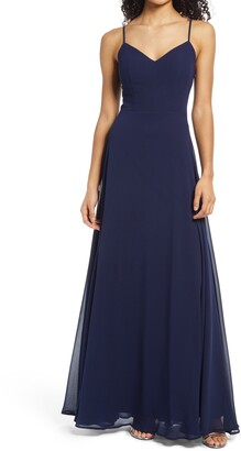 Speechless Back Applique Chiffon Gown