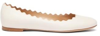 Chloé Lauren Scallop Edge Leather Flats - Womens - White