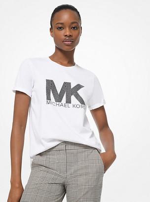 Michael Kors Studded Logo Cotton-Jersey T-Shirt