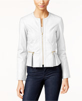 INC International Concepts Macy's Faux-Leather Peplum Moto Jacket, Only at Macy's