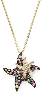 Bloomingdale's Multi Sapphire and Diamond Starfish Pendant Necklace in 14K Yellow Gold, 17