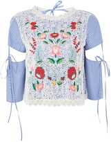 Topshop Floral Embroidered Overlay Top