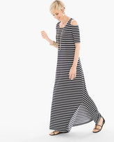 Chico's Cold-Shoulder Striped Maxi Dress