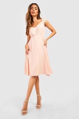 boohoo Chiffon Lace Midi Skater Bridesmaid Dress