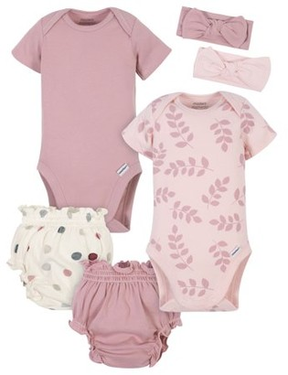 Modern Moments by Gerber Baby Girl Onesies Bodysuits, Diaper Cover, and Headband Set, 6-Piece