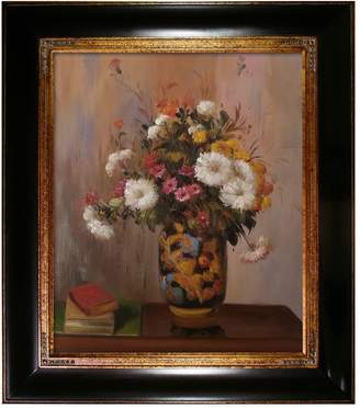 "Bouquet of Flowers: Chrysanthemums in a China Vase Framed Oil Reproduction of Original Painting by Theodore Robinson - 29""x33"""