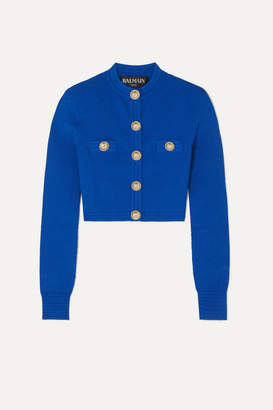 Balmain Button-embellished Jacquard-knit Cardigan - Cobalt blue