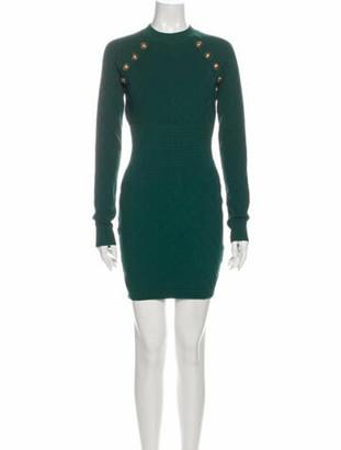 Balmain Crew Neck Mini Dress w/ Tags Green
