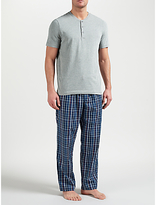 John Lewis Hythe Check Trousers And Grandad T-shirt Lounge Set, Grey/blue