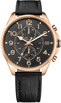 Tommy Hilfiger Men's Casual Sport Black Leather Strap Watch 46mm 1791273