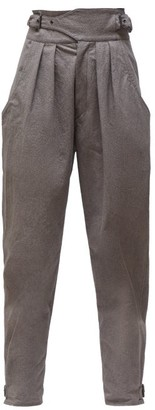 Isabel Marant Yurnea Pleated Cotton Tapered Trousers - Dark Grey