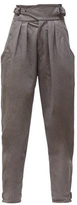 Isabel Marant Yurnea Pleated Cotton Tapered Trousers - Womens - Dark Grey