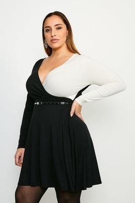 Karen Millen Curve Colour Block Viscose Jersey Wrap Dress