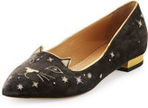 Charlotte Olympia Mid-Century Velvet Kitty Slipper, Anthracite