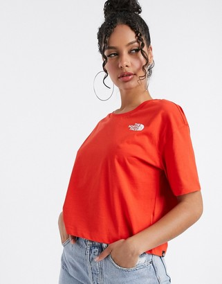 The North Face Simple Dome cropped t-shirt in red