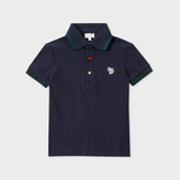 Paul Smith Girls' 7+ Years Navy Zebra-Logo Polo Shirt With Glittered Detail