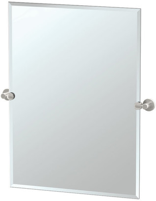 "Gatco Channel 31.5"" Frameless Rectangle Mirror, Satin Nickel"
