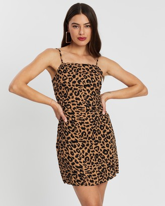 Missguided Tie Back Cami Animal Dress