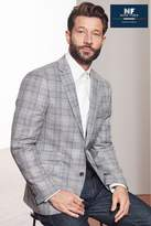 Mens Next Grey Signature Italian Fabric Check Slim Fit Nova Fides Blazer - Grey