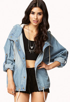 FOREVER 21 Life In ProgressTM Drawstring Denim Jacket