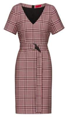 HUGO Pencil dress in checked stretch fabric with D-ring belt