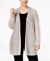 Alfani Plus Size Sequined Open-Front Cardigan, Only at Macy's