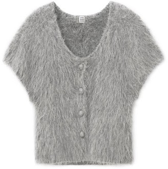 Totême Cap-sleeve Alpaca-blend Cardigan - Grey