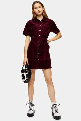 Topshop Womens Berry Corduroy Short Sleeve Shirt Dress - Wine