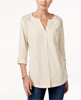 Style&Co. Style & Co Petite Lace Roll-Tab Top, Only at Macy's