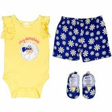 Baby Gear Baby Girl Bodysuit, Shorts & Crib Shoes Set