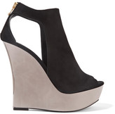 Balmain Amaya Cutout Suede And Mirrored-leather Wedge Sandals - Black