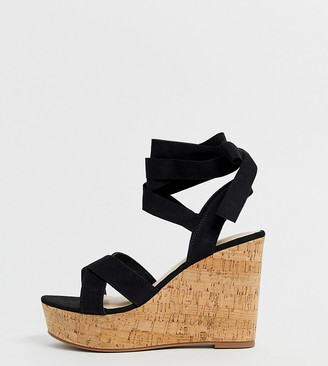 Truffle Collection wide fit tie ankle wedges-Black