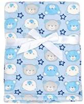 Baby Gear Plush Velboa Ultra Soft Baby Boys Blanket 30 x 40, Blue Grey Teddy by