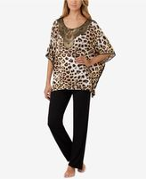 Ellen Tracy Gold-Foil-Neckline Printed Pajama Set