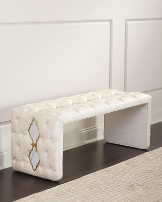 Haute House Elisa Marble Inlay Tufted Bench