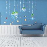 Fish sea cartoon wall sticker for shower tile stickers in the bathroom for children kids baby bath