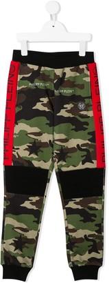 Philipp Plein Junior camouflage logo print track trousers