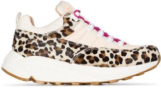 Diemme Montegrappa leopard-print calf hair sneakers