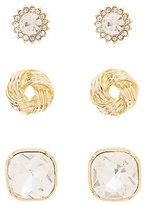 Charlotte Russe Faceted Rhinestone & Knot Stud Earrings - 3 Pack