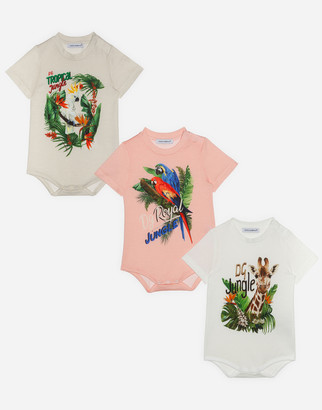 Dolce & Gabbana Gift Set Of 3 Bodysuits In Jersey With Jungle Print
