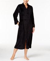 Miss Elaine Dot Textured Fleece Zip-Front Robe